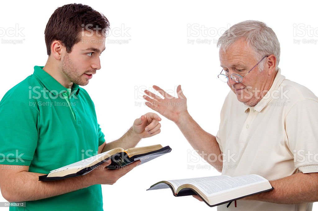 Discussing the Bible stock photo