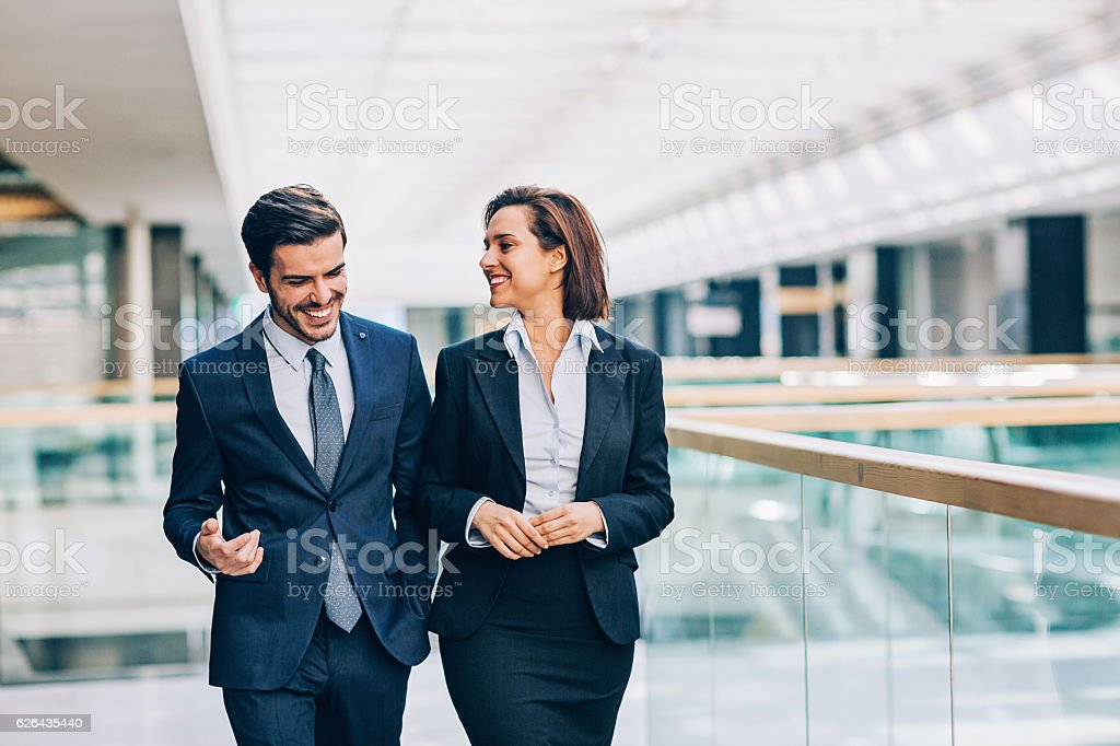 Discussing the business stock photo