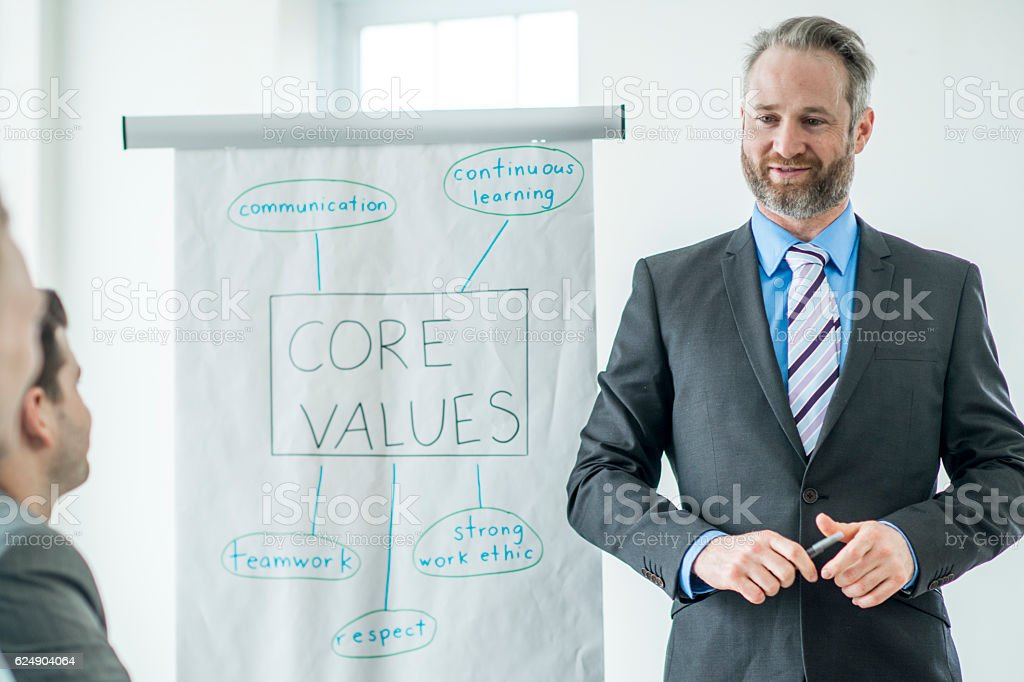 Discussing the Companies Core Values stock photo
