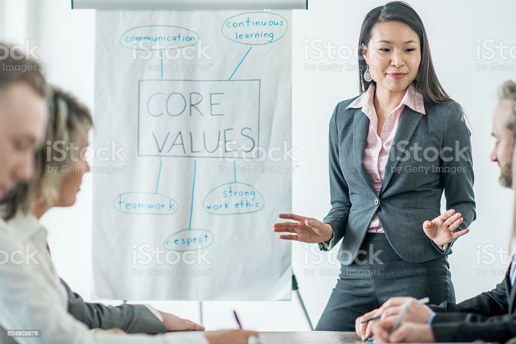 Discussing the Companies Values stock photo