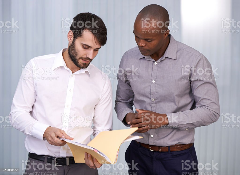 Discussing the data stock photo