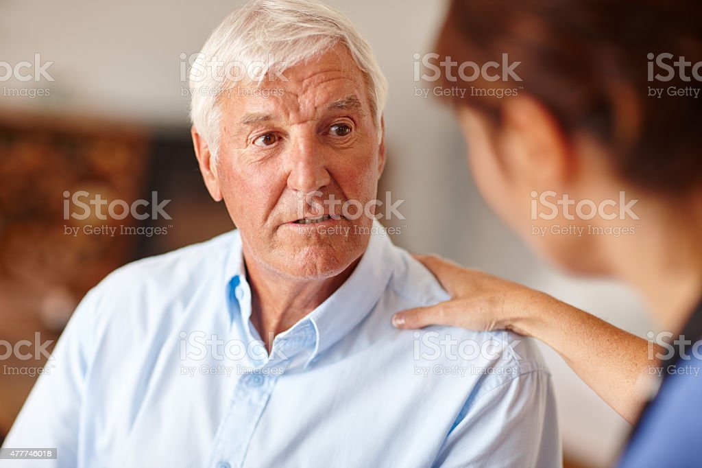 Discussing the way forward with her patient stock photo
