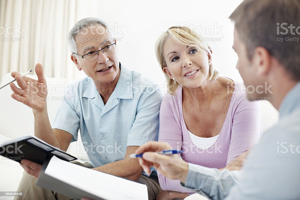 Discussing their finances royalty-free stock photo
