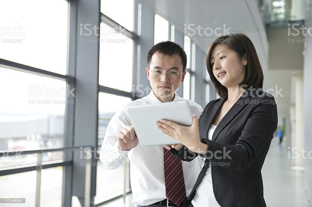 discussing with associate royalty-free stock photo