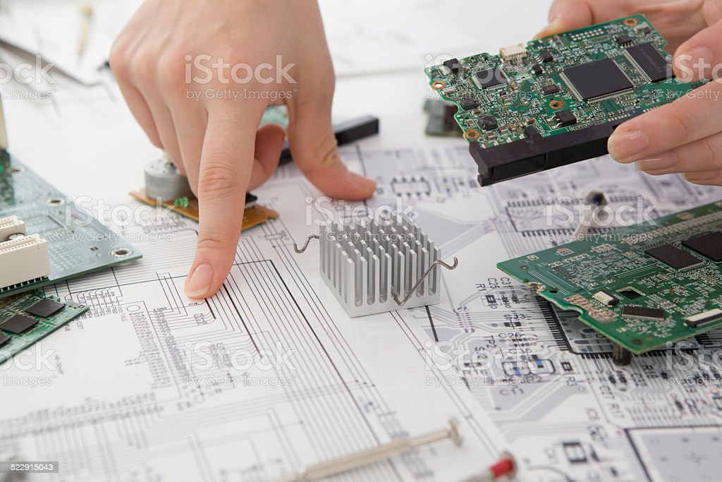 Discussion about the circuit board stock photo