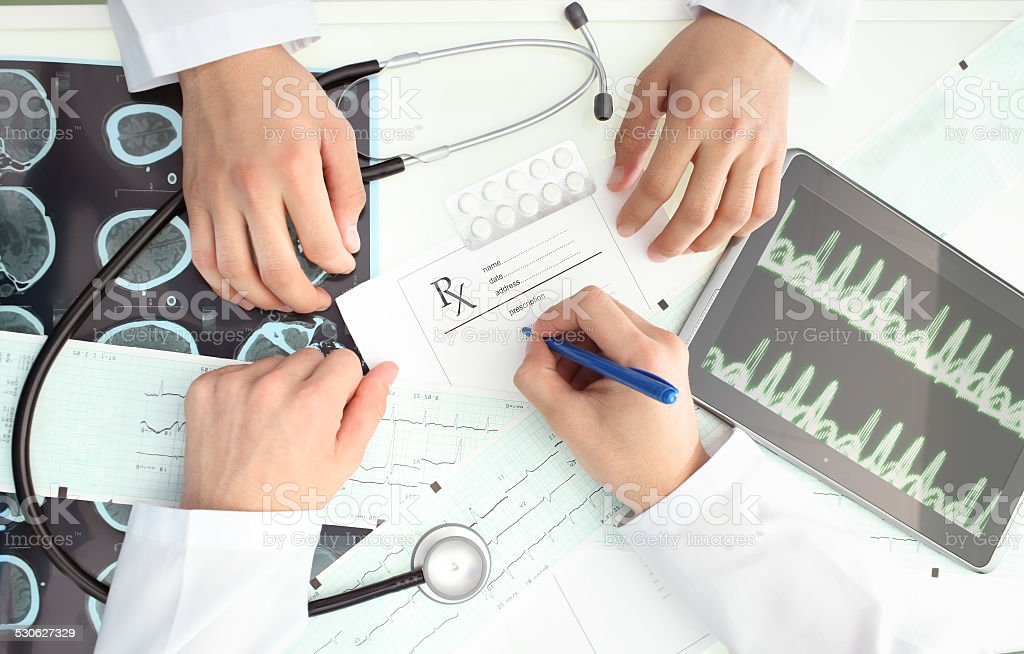 Discussion between doctors. The situation in the hospital stock photo