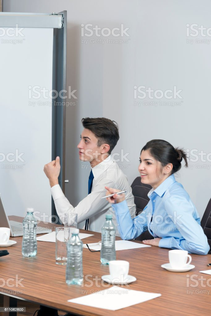 Discussion in the office stock photo
