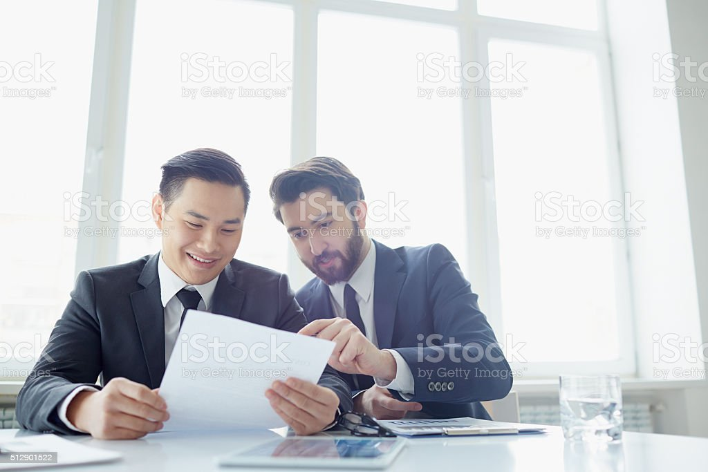 Discussion of contract stock photo