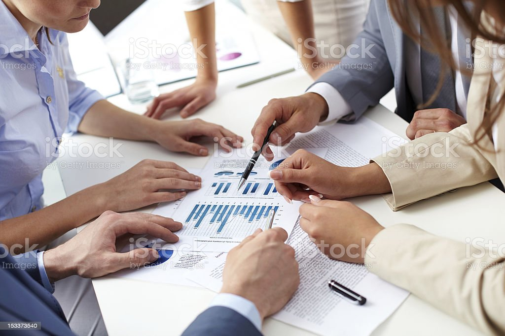 Discussion of papers royalty-free stock photo