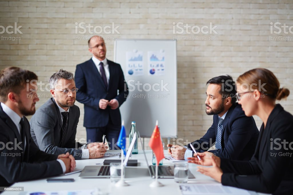 Discussion of politicians stock photo