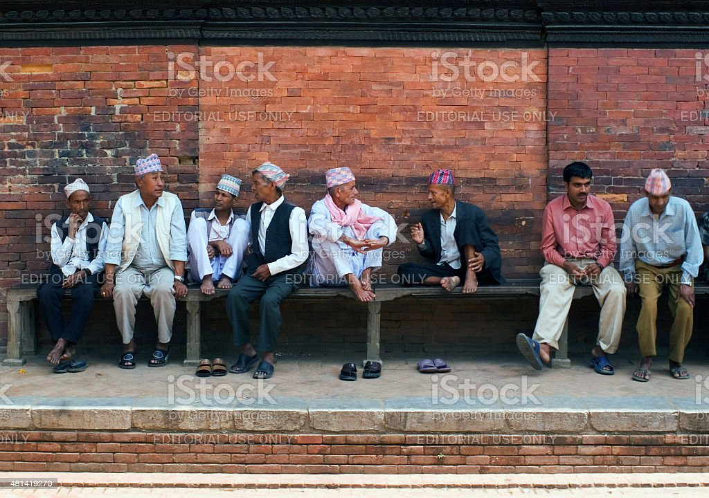 Discussion on a bench stock photo