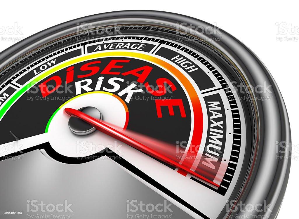 disease risk conceptual meter indicate maximum stock photo
