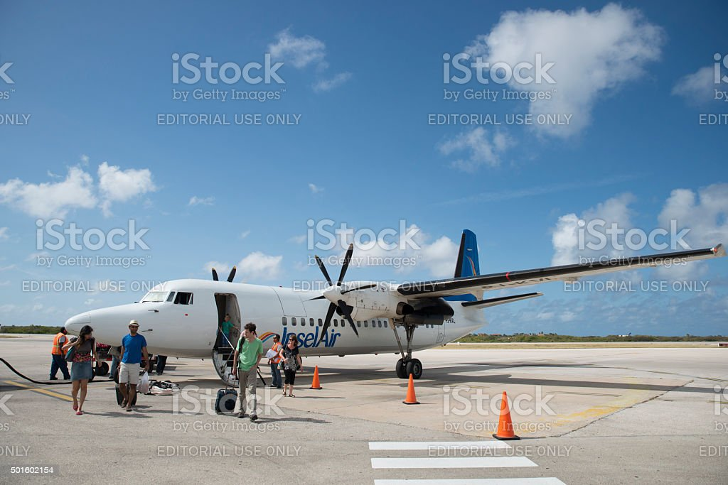 Disembarking InselAir flight in Bonaire royalty-free stock photo