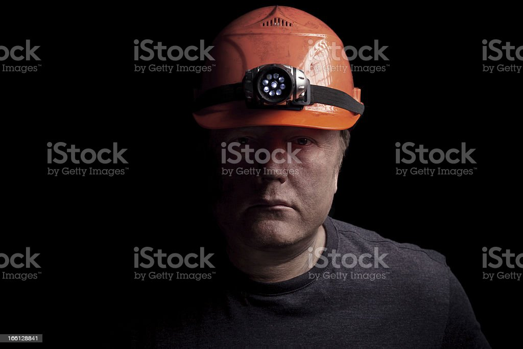 Disgruntled Mine Worker stock photo