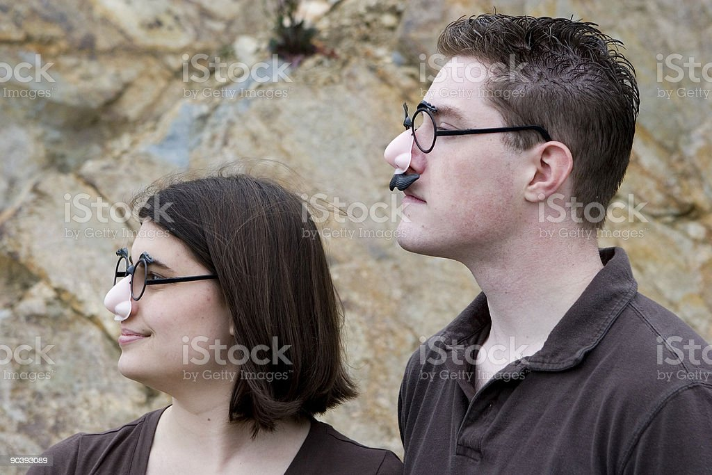 Disguised couple - profile stock photo