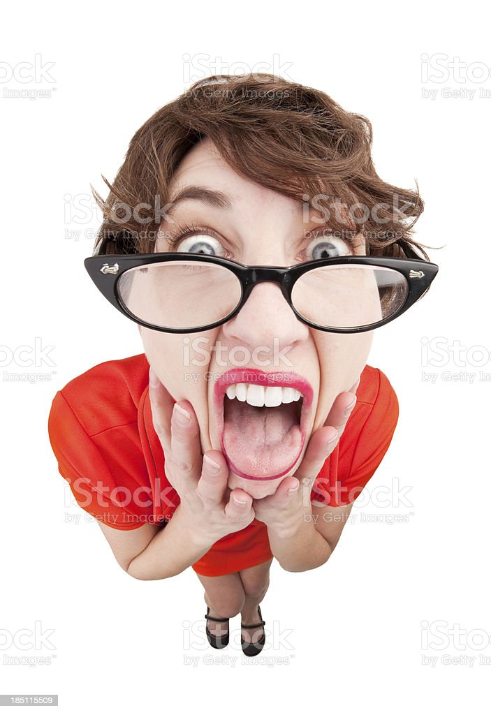 Disgusted Geeky Woman royalty-free stock photo