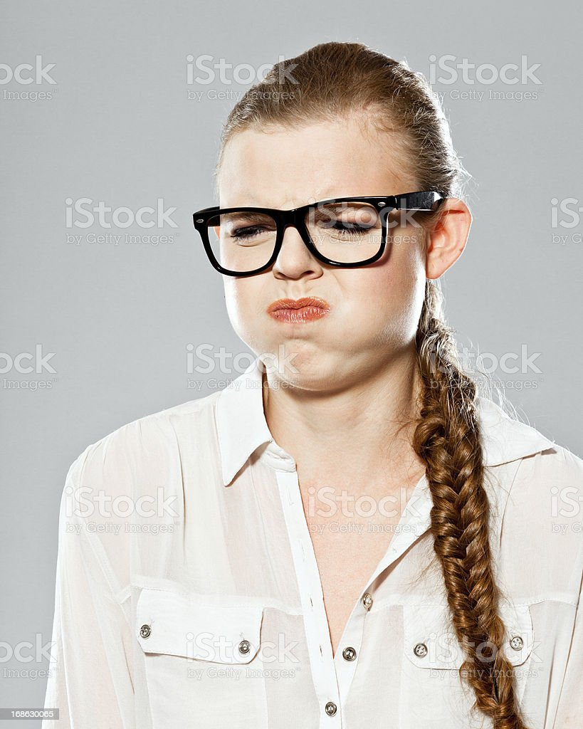 Disgusted Woman, Studio Portrait stock photo