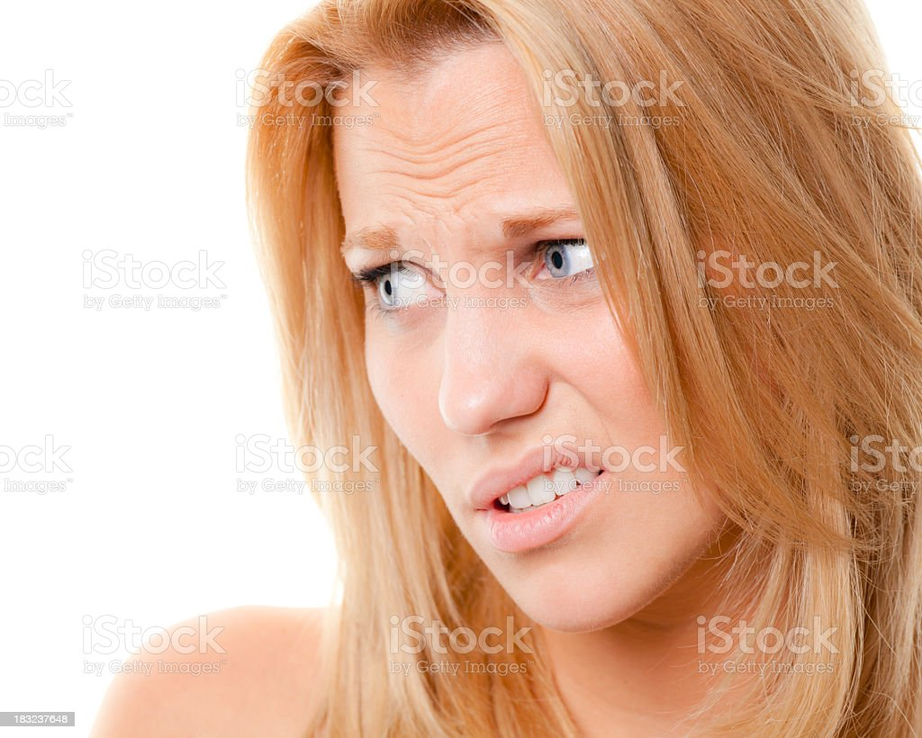 Scowling Young Woman Disgusted By Smell Stock Foto ...