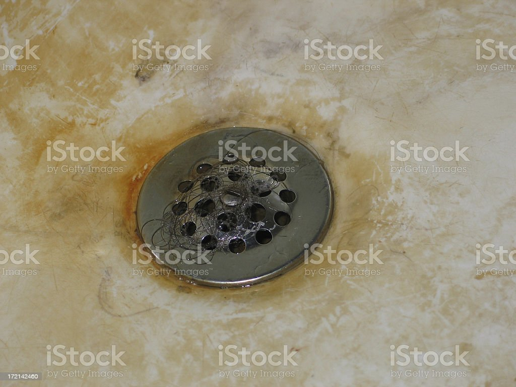 Disgusting Bathtub Drain with Hair royalty-free stock photo