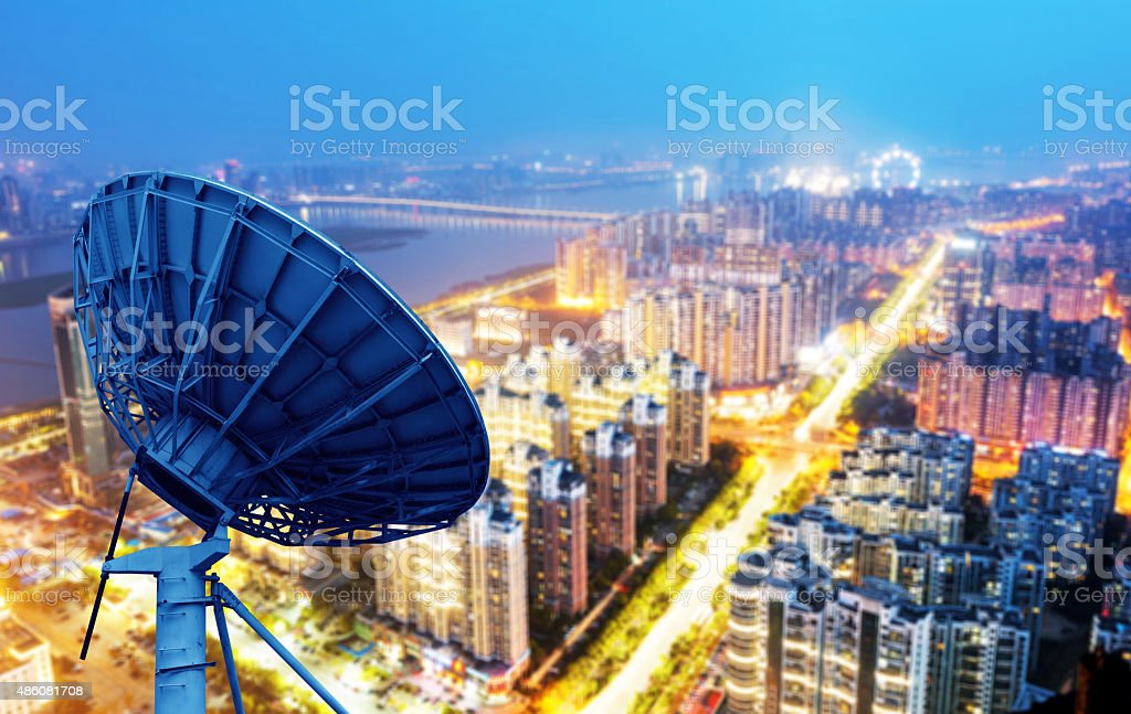 Dish and city views stock photo