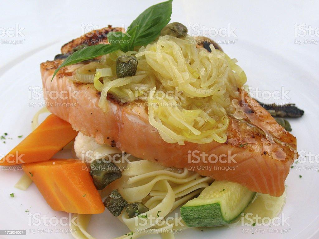Dish Grilled Salmon Steak stock photo