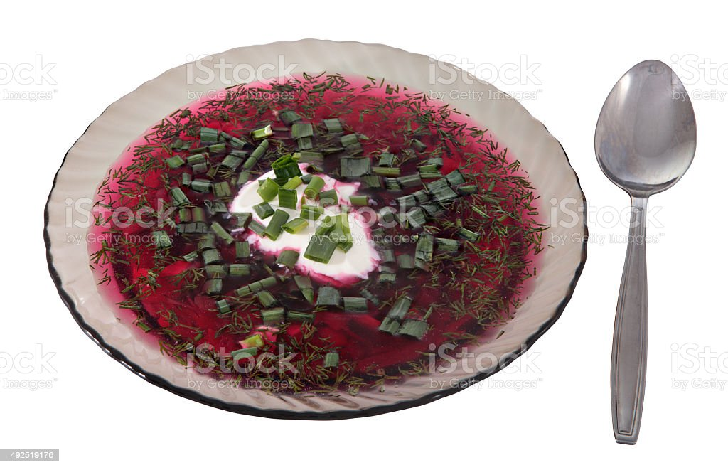 Dish of clear gray glass, cold beet soup, Russian borscht. stock photo