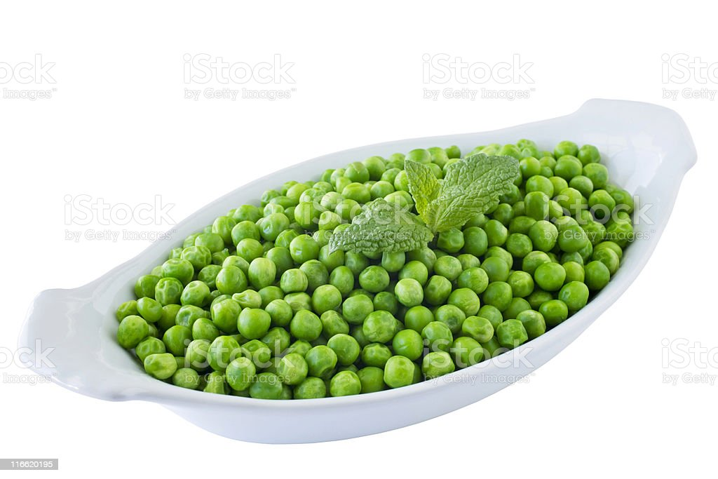 Dish of Cooked Peas stock photo