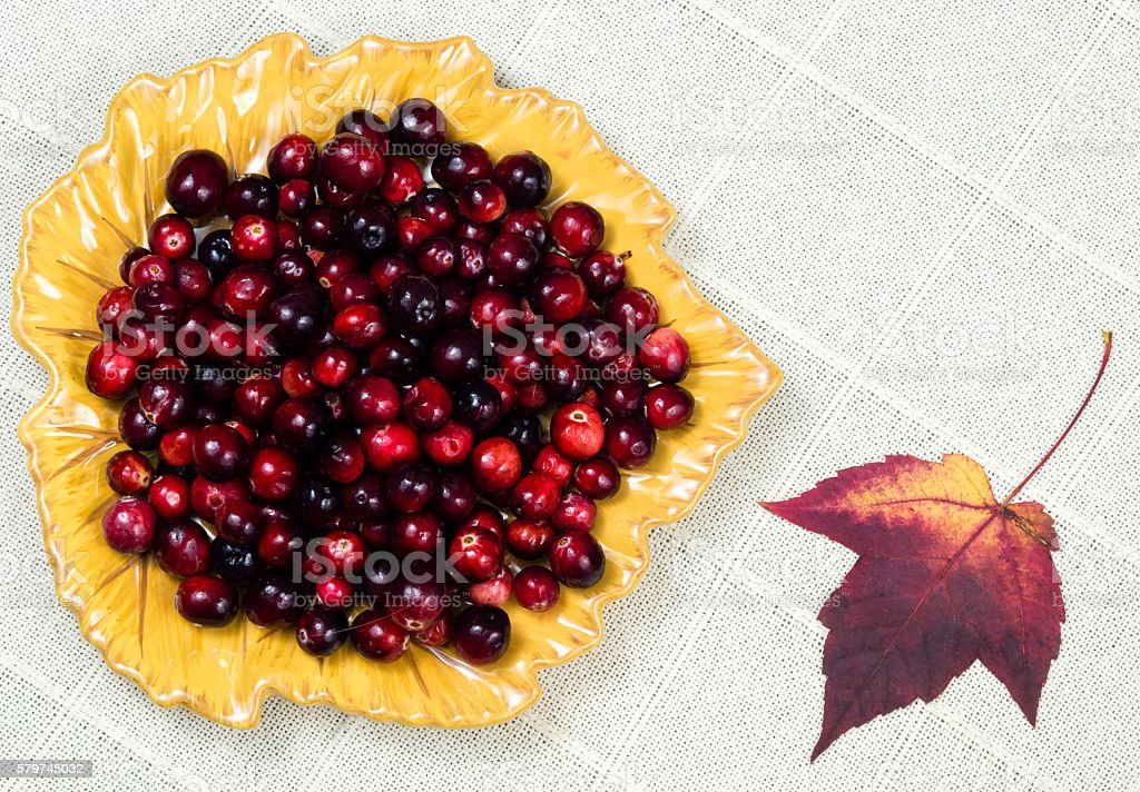 Dish of cranberries with autumn leaf stock photo