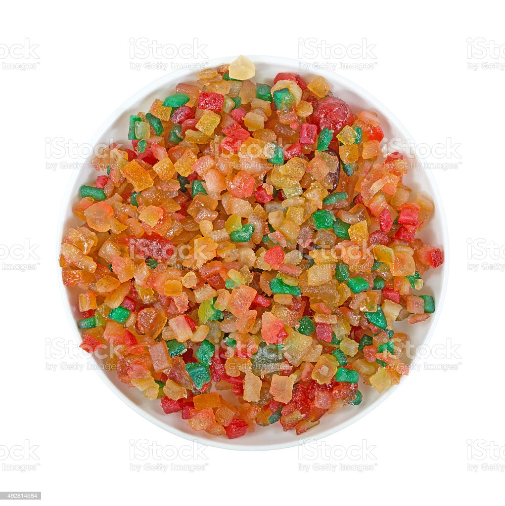 Dish of fruit and peel mix stock photo