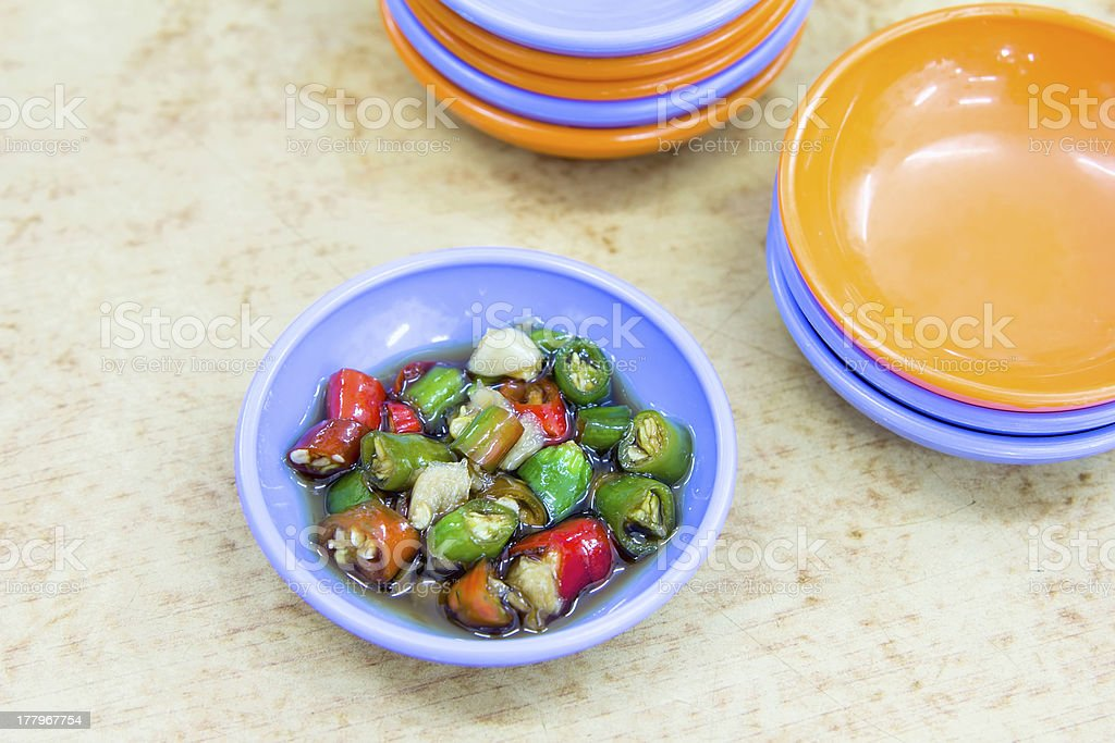 Dish of Hot Chili Peppers in Soy Sauce royalty-free stock photo