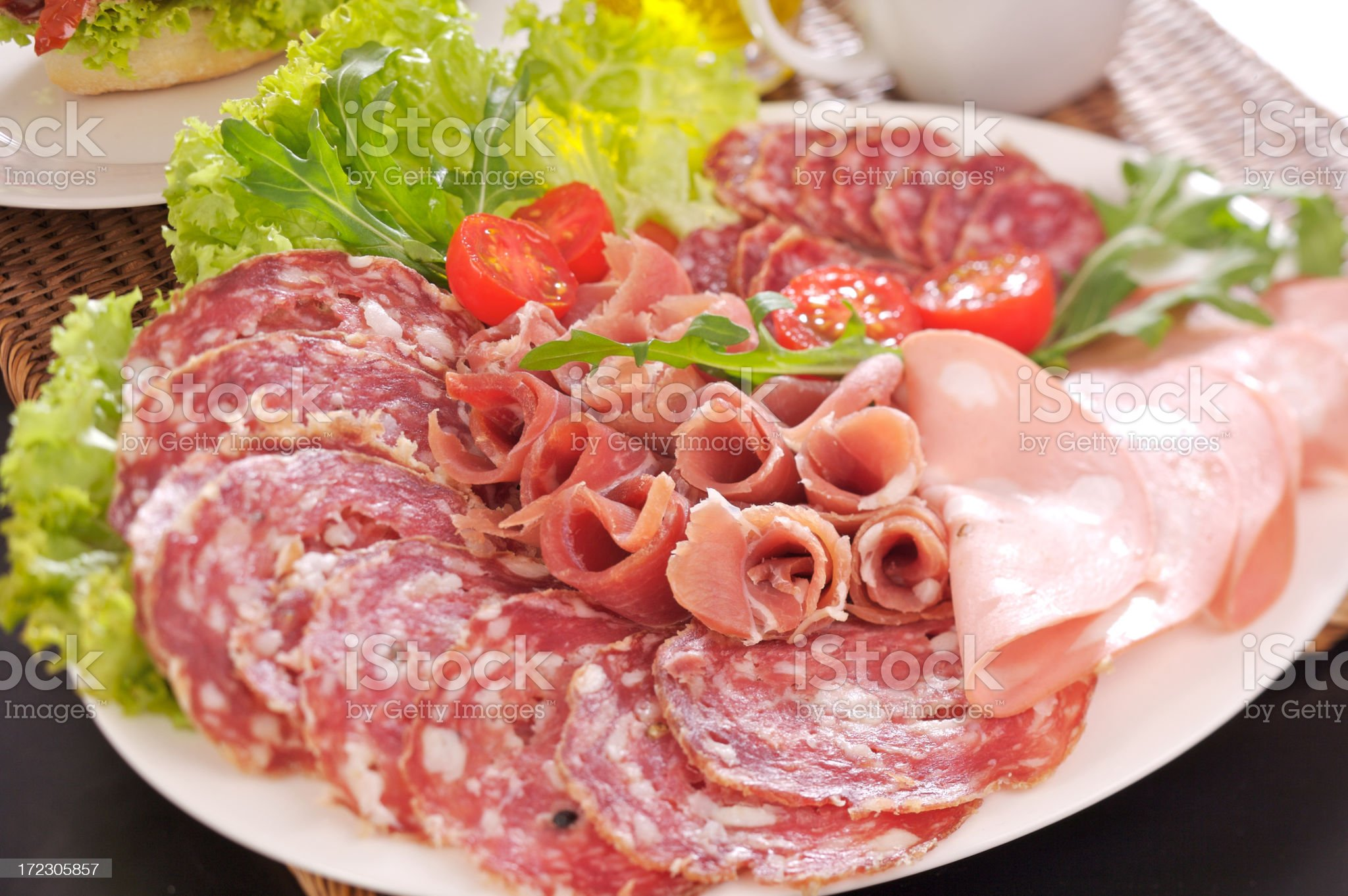 Dish of italian cold meats royalty-free stock photo
