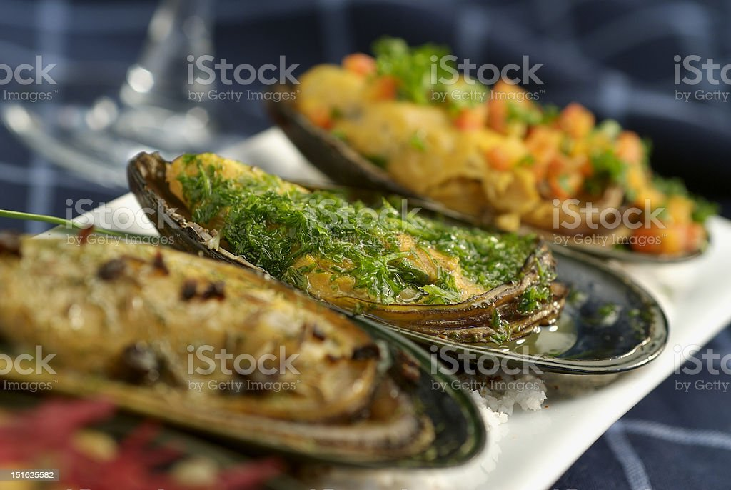 dish of mussels royalty-free stock photo