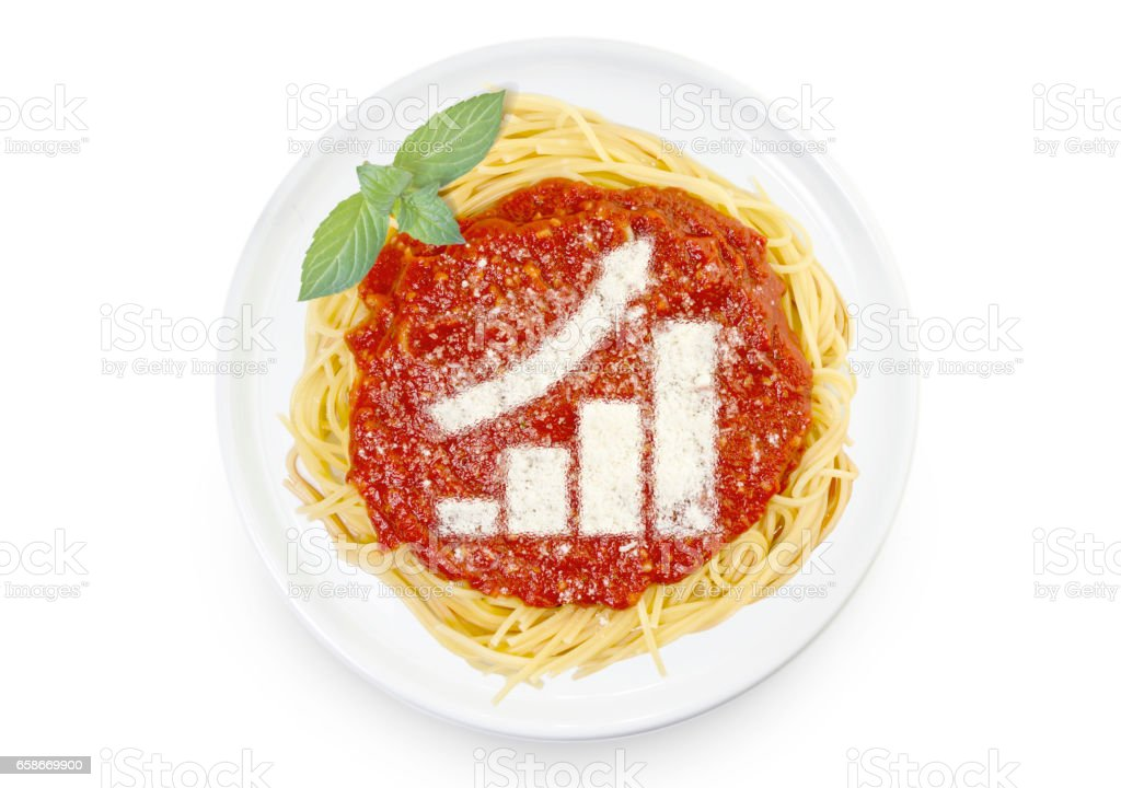 Dish of pasta with parmesan cheese shaped as a growing bar chart.(series) stock photo