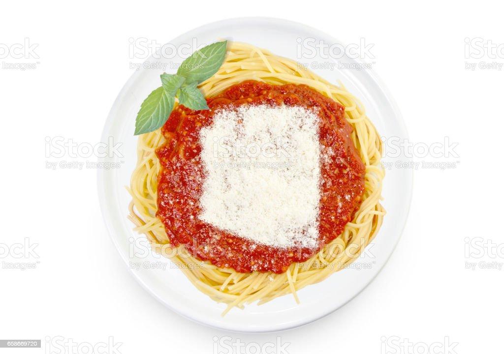Dish of pasta with parmesan cheese shaped as Arizona.(series) stock photo