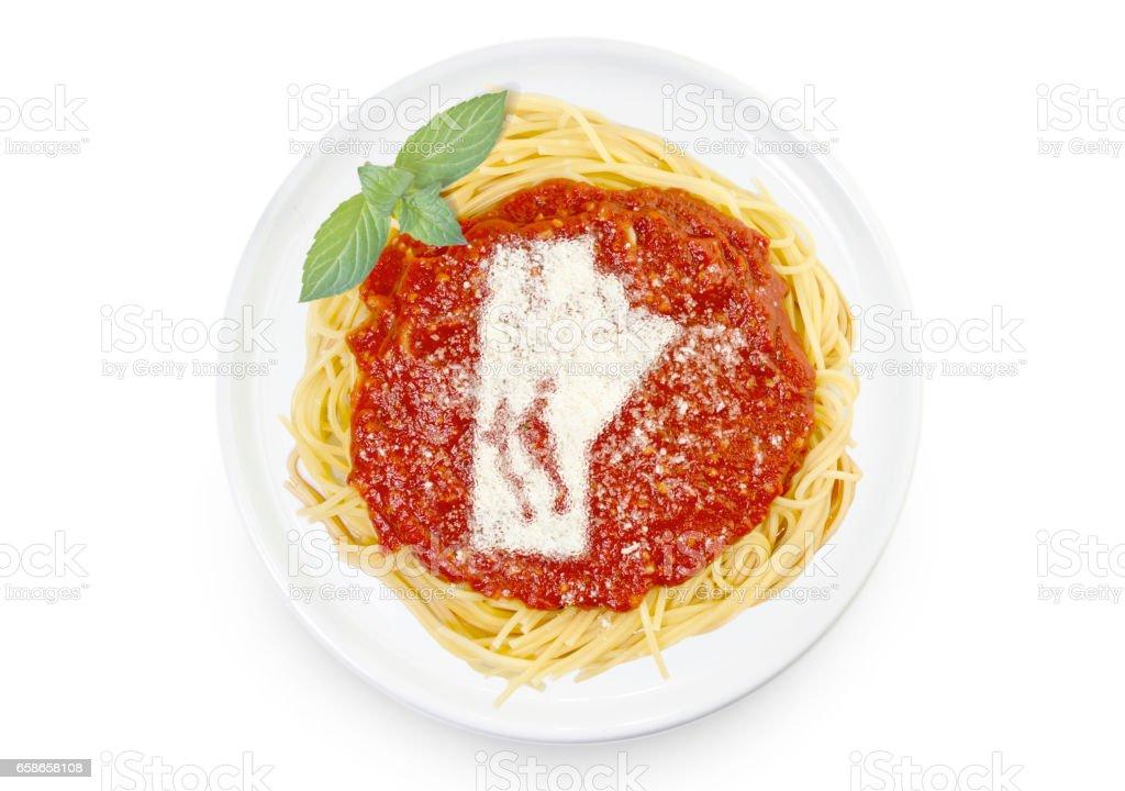 Dish of pasta with parmesan cheese shaped as Manitoba.(series) stock photo