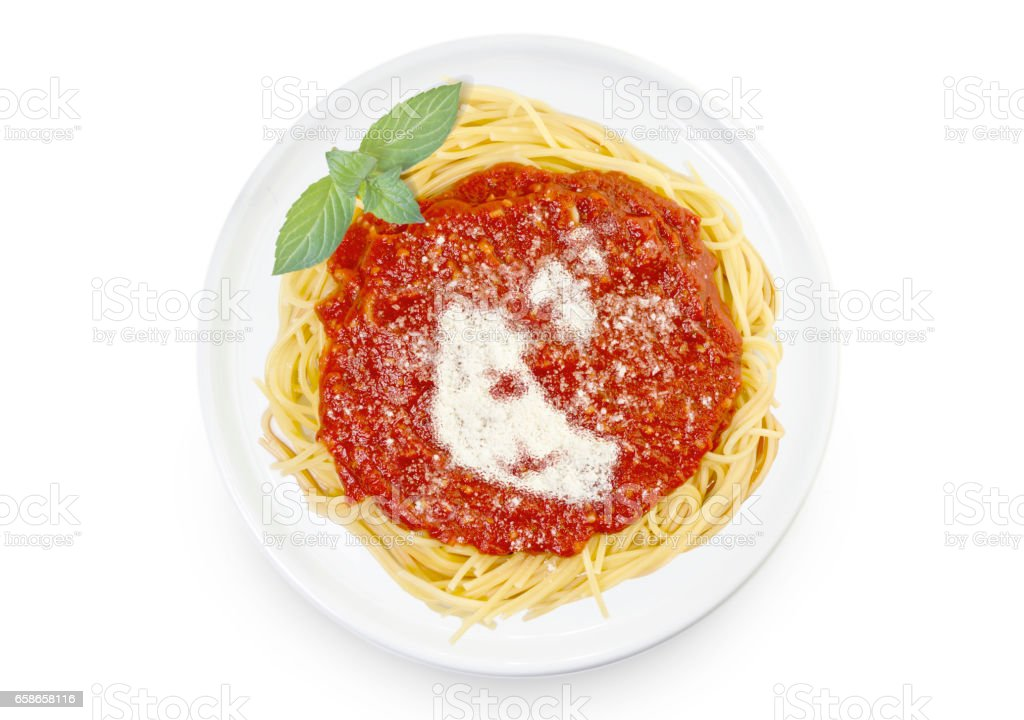 Dish of pasta with parmesan cheese shaped as Northwest Territories.(series) stock photo