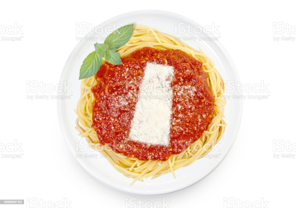 Dish of pasta with parmesan cheese shaped as Saskatchewan.(series) stock photo