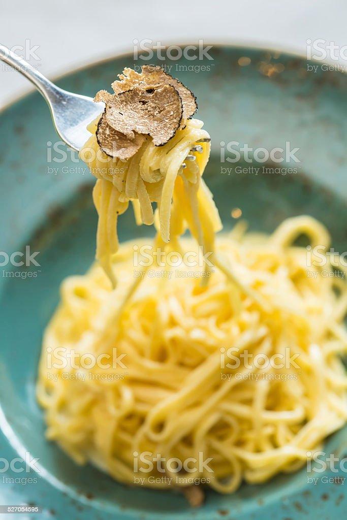 Dish of pasta with truffle stock photo