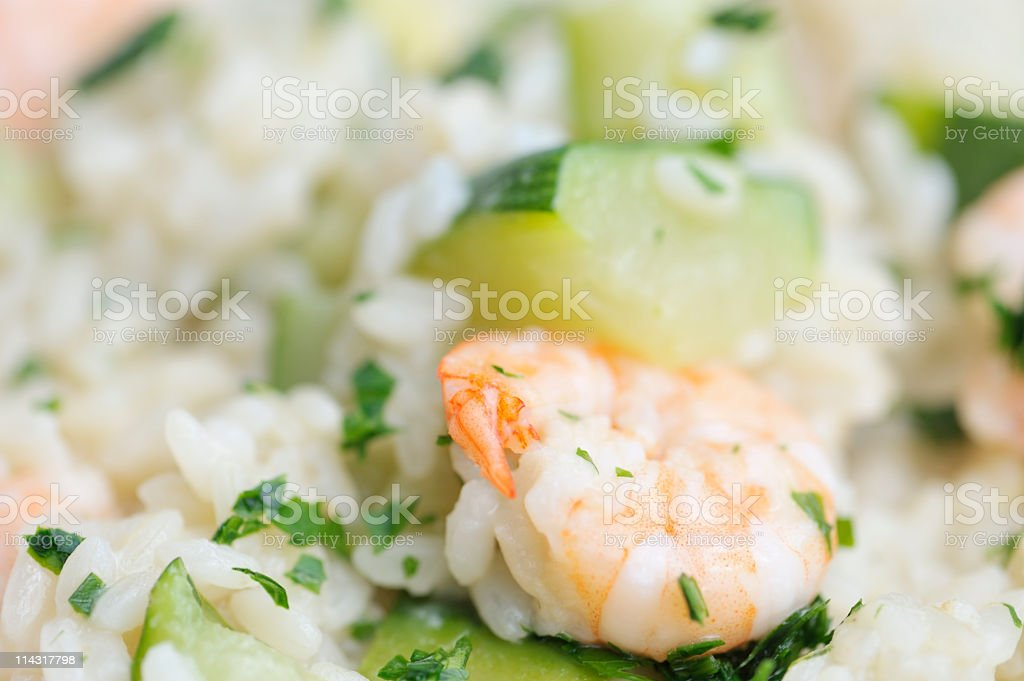 Dish of Prawn and Zucchini Risotto royalty-free stock photo