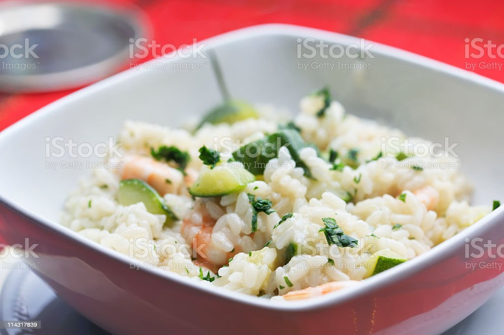 Dish of Prawn and Zucchini Risotto royalty-free stock photo