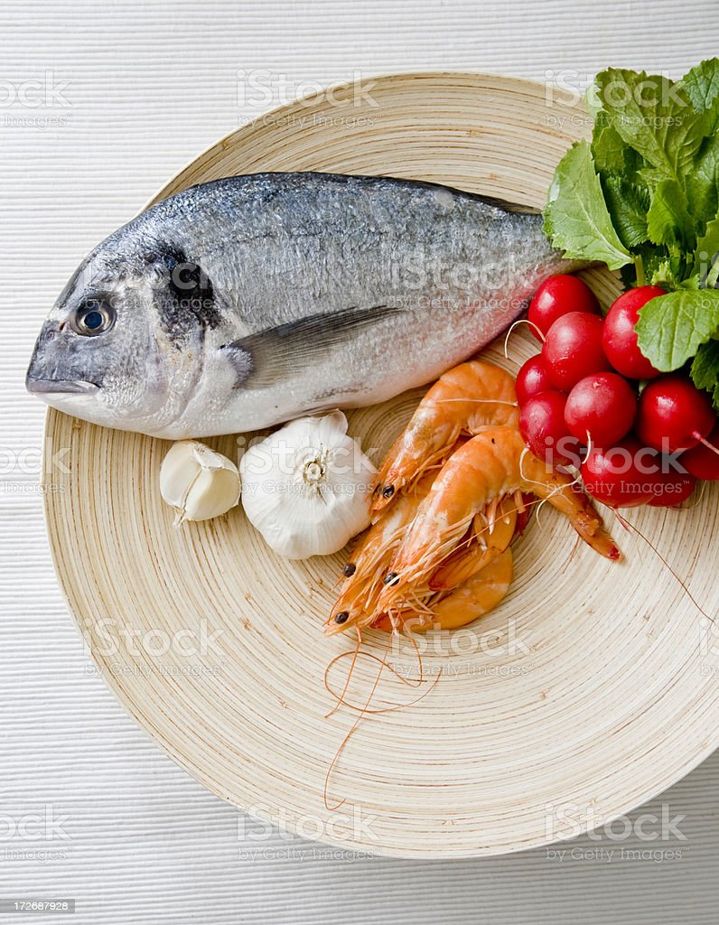 Dish of raw food ready to be prepared stock photo