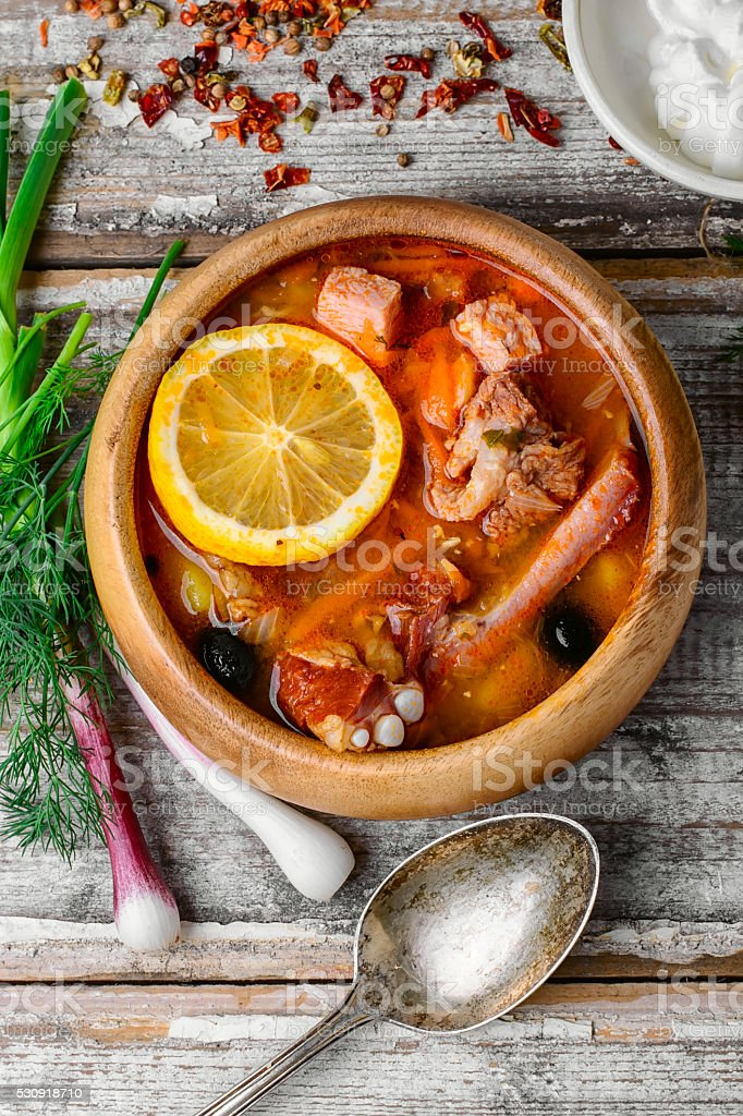 Dish of Russian cuisine-beef stew stock photo