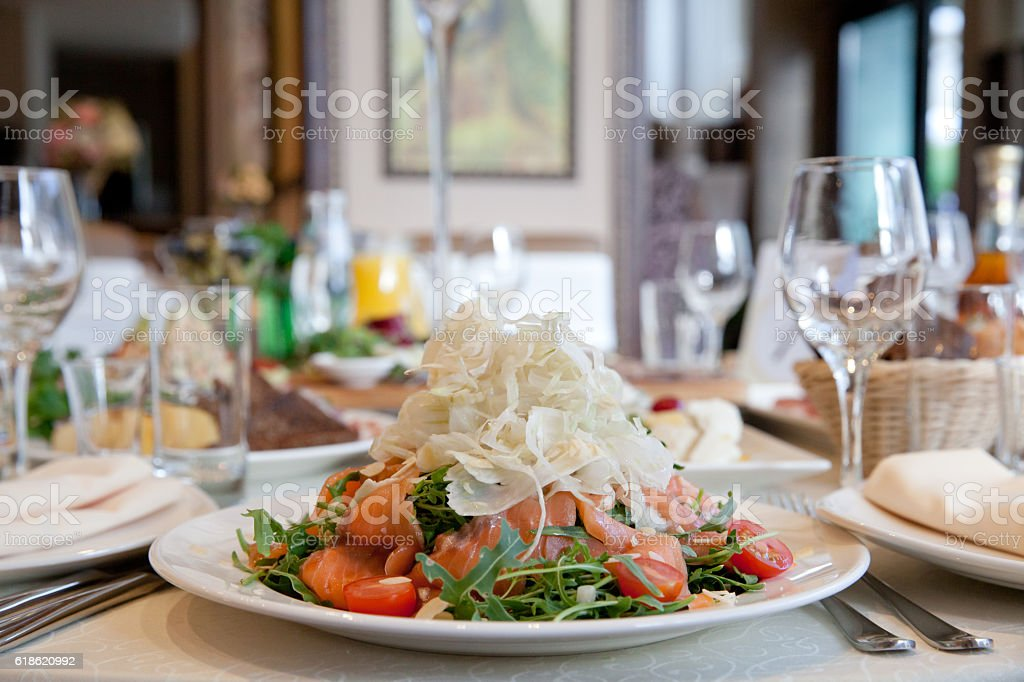 dish of seafood and vegetables stock photo