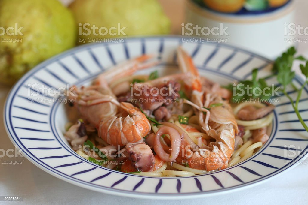 Dish of spaghetti with seafood royalty-free stock photo