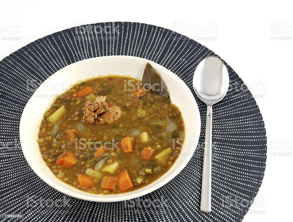 Dish of stewed lentils royalty-free stock photo