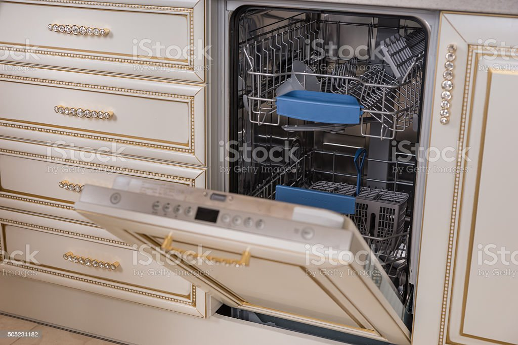 Dish Washer Appliance with Open Door stock photo