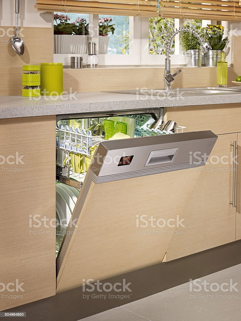 dish washer in chic kitchen stock photo