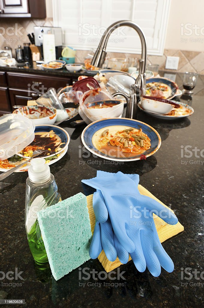 Dish washing cleaning supplies royalty-free stock photo