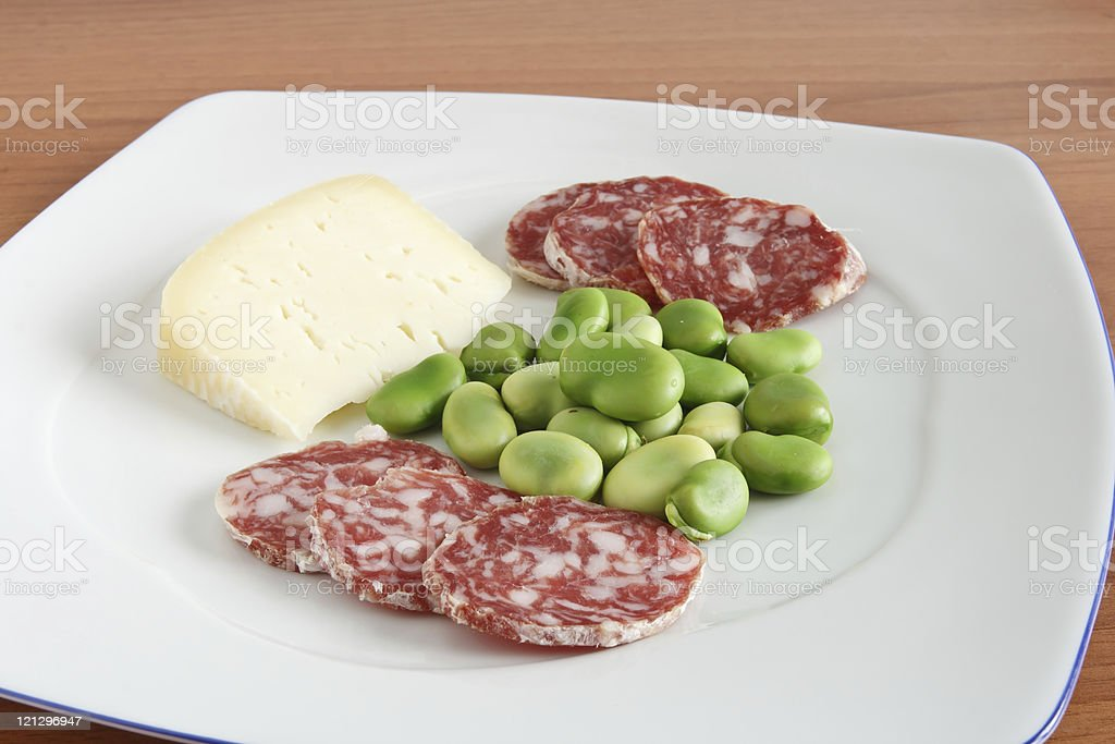 dish with beans salami and cheese royalty-free stock photo