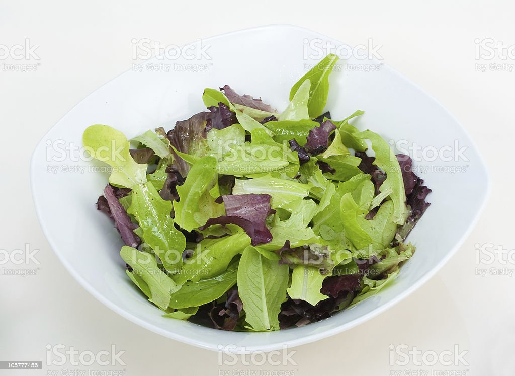 Dish with fresh green salad stock photo